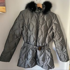 ST. JOHN FurHooded Gray Quilted Puffer Coat Jacket